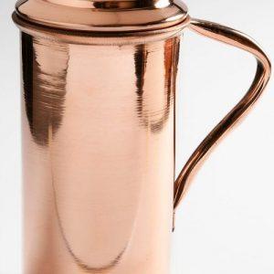 Χάλκινη κανάτα για νερό με καπάκι και χερούλι 1 lt